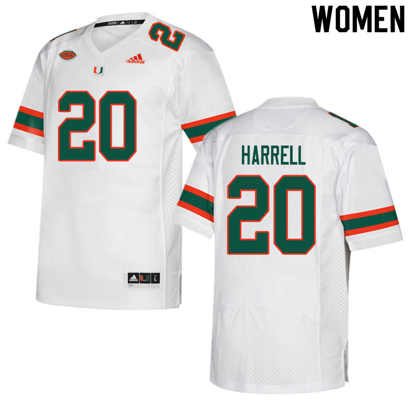 Women #20 Jalen Harrell Miami Hurricanes College Football Jerseys Sale-White