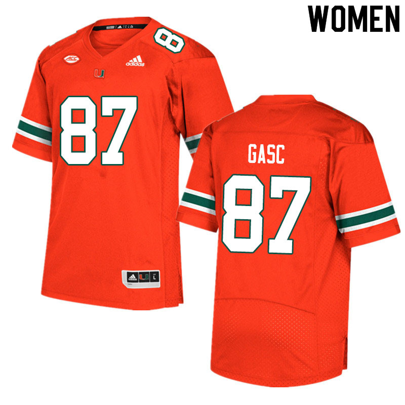 Women #87 Matias Gasc Miami Hurricanes College Football Jerseys Sale-Orange