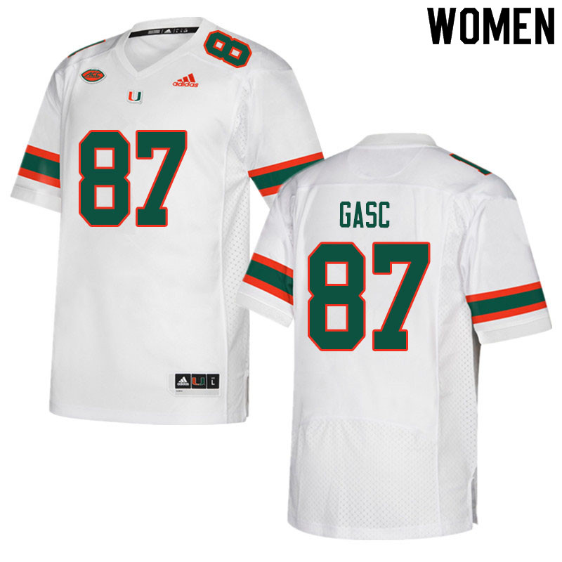 Women #87 Matias Gasc Miami Hurricanes College Football Jerseys Sale-White