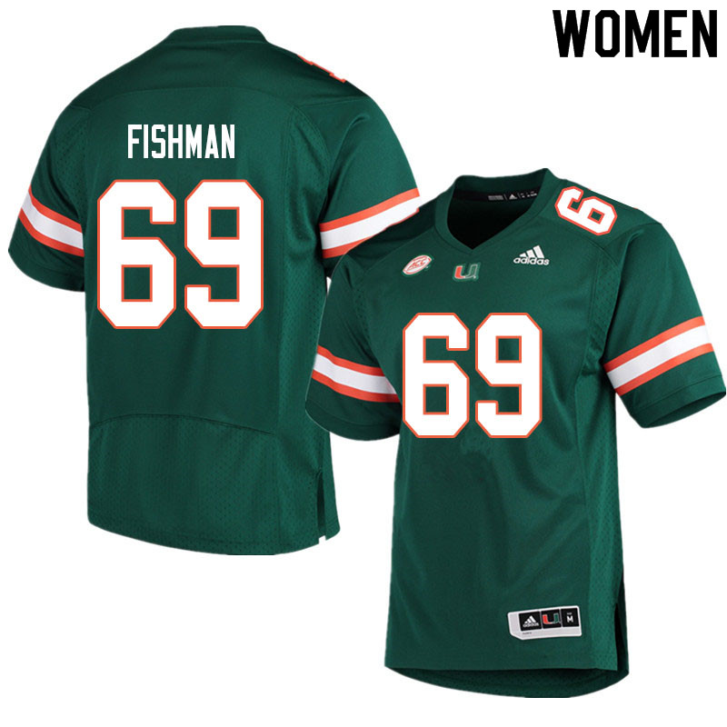 Women #69 Sam Fishman Miami Hurricanes College Football Jerseys Sale-Green