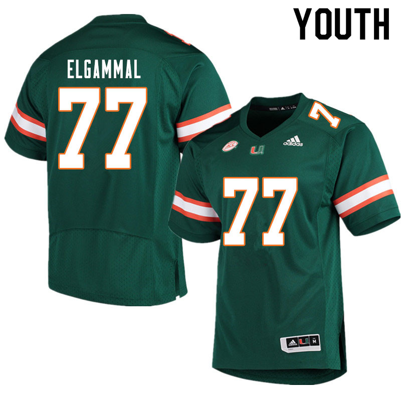 Youth #77 Adam ElGammal Miami Hurricanes College Football Jerseys Sale-Green