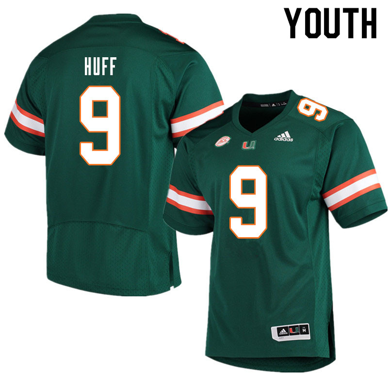 Youth #9 Avery Huff Miami Hurricanes College Football Jerseys Sale-Green