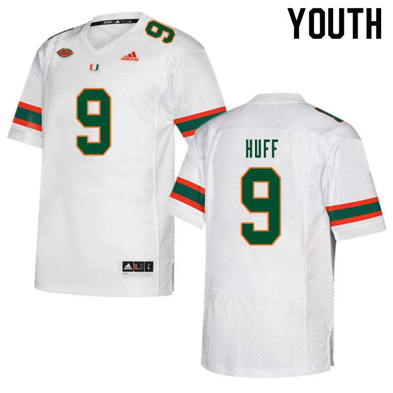 Youth #9 Avery Huff Miami Hurricanes College Football Jerseys Sale-White