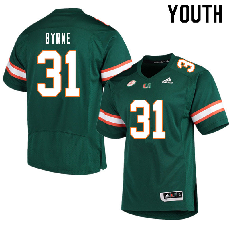 Youth #31 Connor Byrne Miami Hurricanes College Football Jerseys Sale-Green