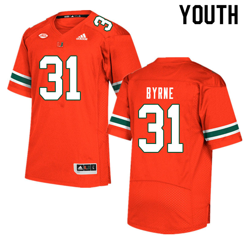 Youth #31 Connor Byrne Miami Hurricanes College Football Jerseys Sale-Orange