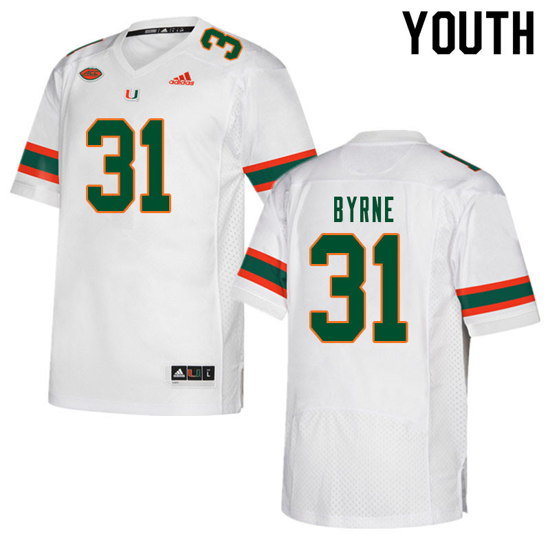 Youth #31 Connor Byrne Miami Hurricanes College Football Jerseys Sale-White