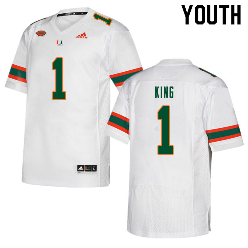 Youth #1 D'Eriq King Miami Hurricanes College Football Jerseys Sale-White