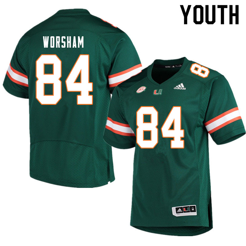 Youth #84 Dazalin Worsham Miami Hurricanes College Football Jerseys Sale-Green