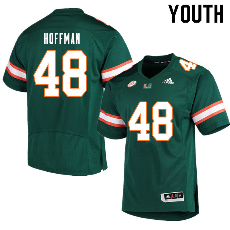 Youth #48 Jake Hoffman Miami Hurricanes College Football Jerseys Sale-Green