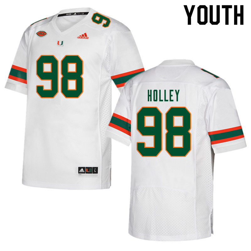 Youth #98 Jalar Holley Miami Hurricanes College Football Jerseys Sale-White