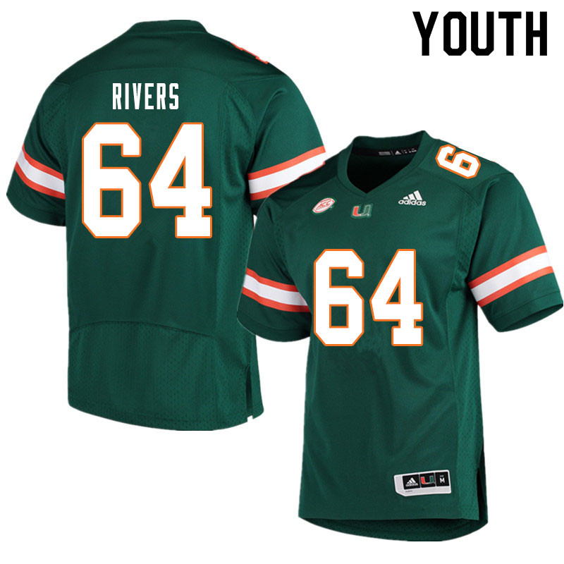 Youth #64 Jalen Rivers Miami Hurricanes College Football Jerseys Sale-Green