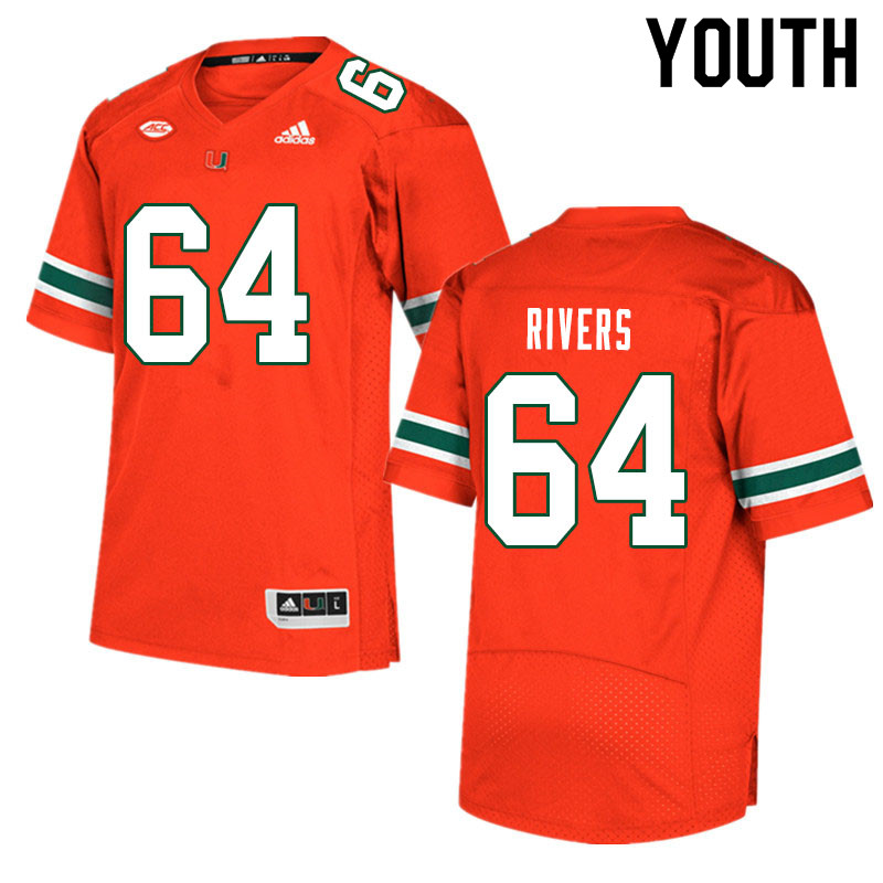 Youth #64 Jalen Rivers Miami Hurricanes College Football Jerseys Sale-Orange
