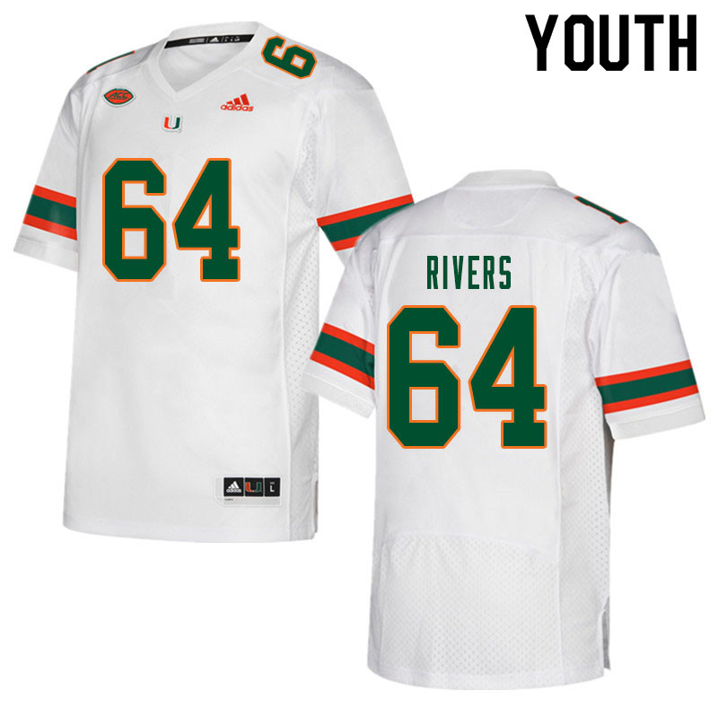 Youth #64 Jalen Rivers Miami Hurricanes College Football Jerseys Sale-White