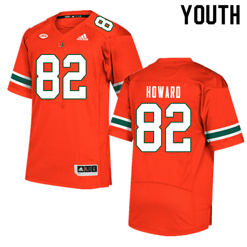 Youth #82 Jarius Howard Miami Hurricanes College Football Jerseys Sale-Orange