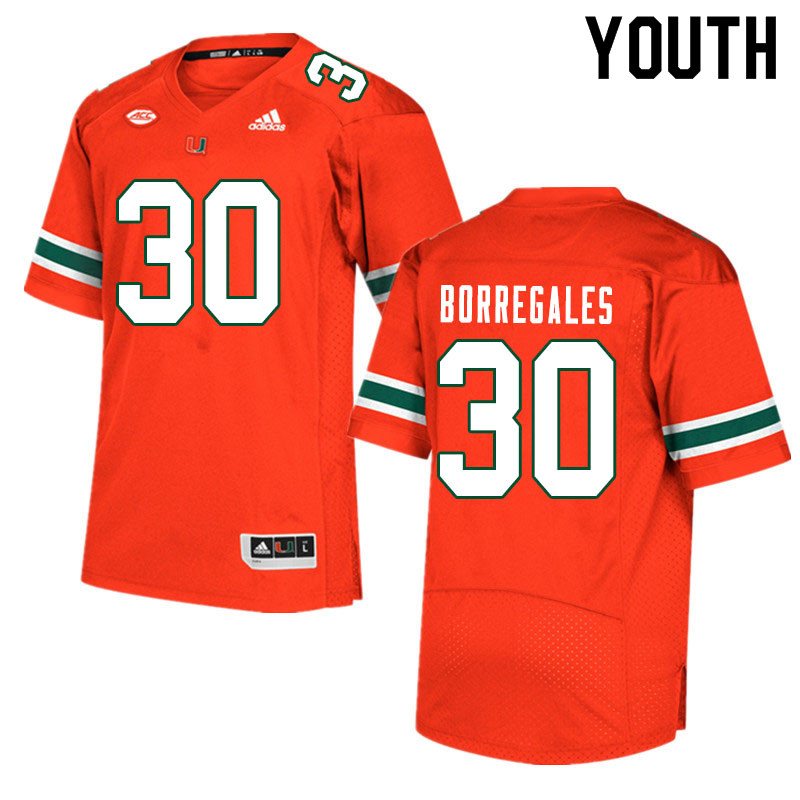 Youth #30 Jose Borregales Miami Hurricanes College Football Jerseys Sale-Orange
