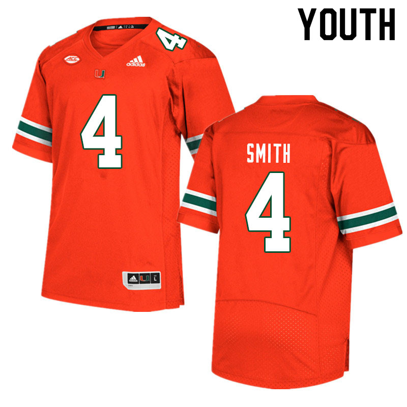 Youth #4 Keontra Smith Miami Hurricanes College Football Jerseys Sale-Orange