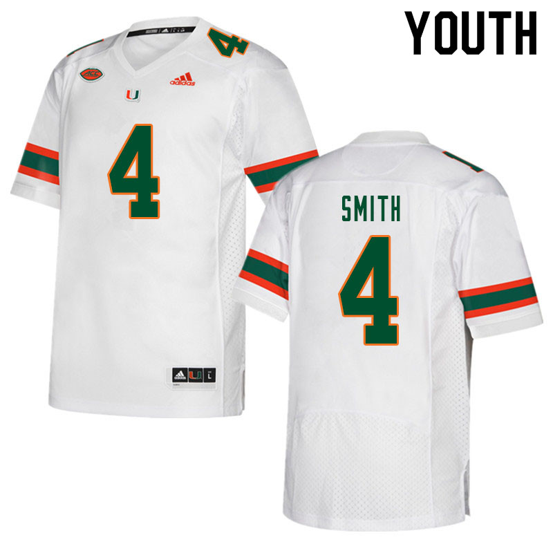 Youth #4 Keontra Smith Miami Hurricanes College Football Jerseys Sale-White
