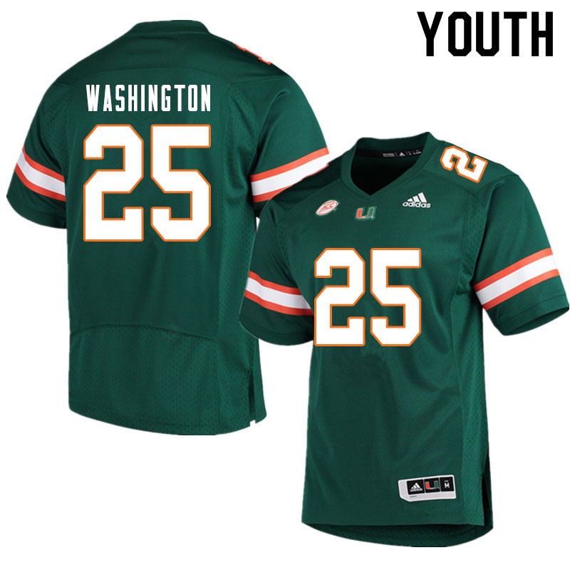 Youth #25 Keshawn Washington Miami Hurricanes College Football Jerseys Sale-Green