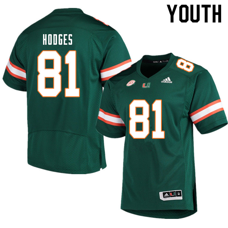 Youth #81 Larry Hodges Miami Hurricanes College Football Jerseys Sale-Green