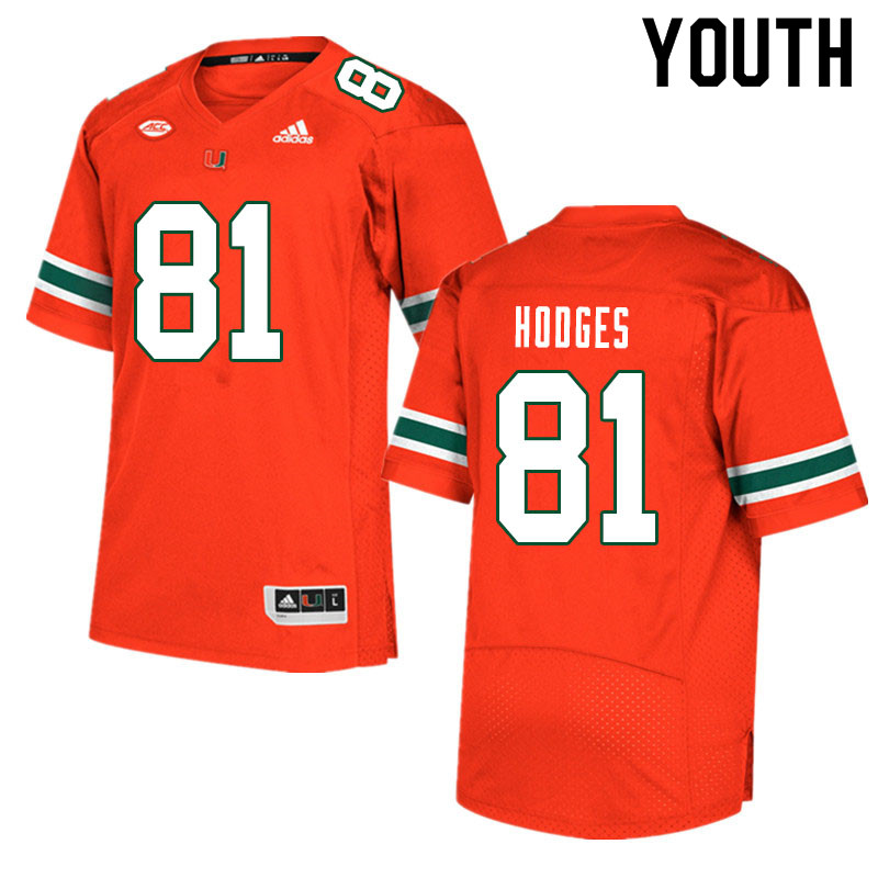 Youth #81 Larry Hodges Miami Hurricanes College Football Jerseys Sale-Orange