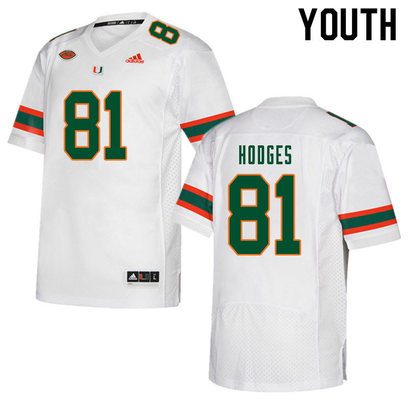 Youth #81 Larry Hodges Miami Hurricanes College Football Jerseys Sale-White