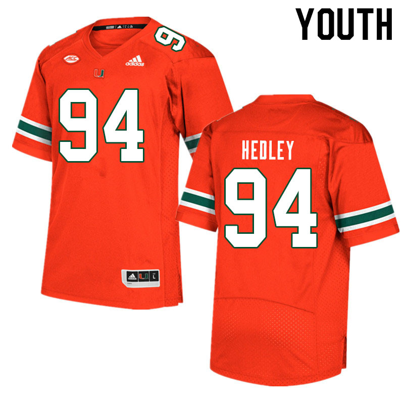 Youth #94 Lou Hedley Miami Hurricanes College Football Jerseys Sale-Orange