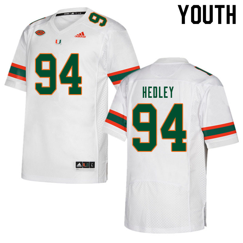 Youth #94 Lou Hedley Miami Hurricanes College Football Jerseys Sale-White