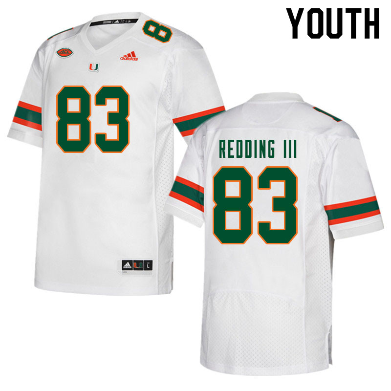 Youth #83 Michael Redding III Miami Hurricanes College Football Jerseys Sale-White