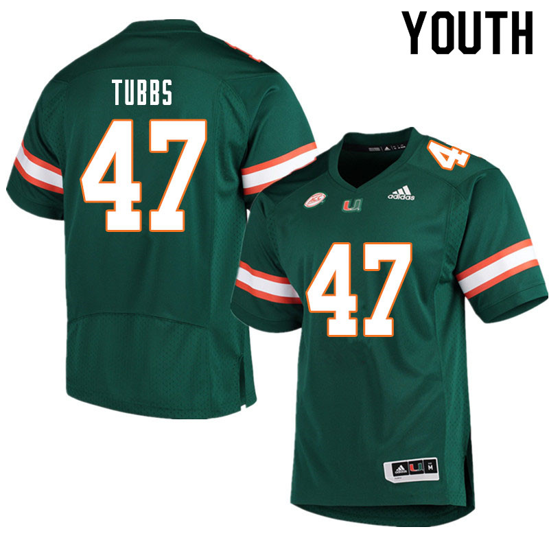 Youth #47 Mykel Tubbs Miami Hurricanes College Football Jerseys Sale-Green