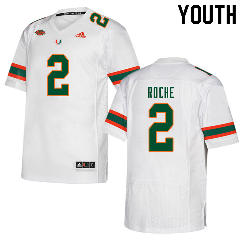 Youth #2 Quincy Roche Miami Hurricanes College Football Jerseys Sale-White