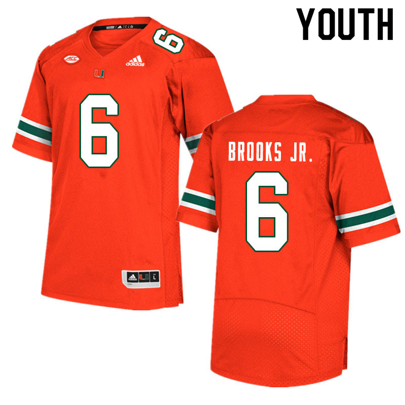 Youth #6 Sam Brooks Jr. Miami Hurricanes College Football Jerseys Sale-Orange