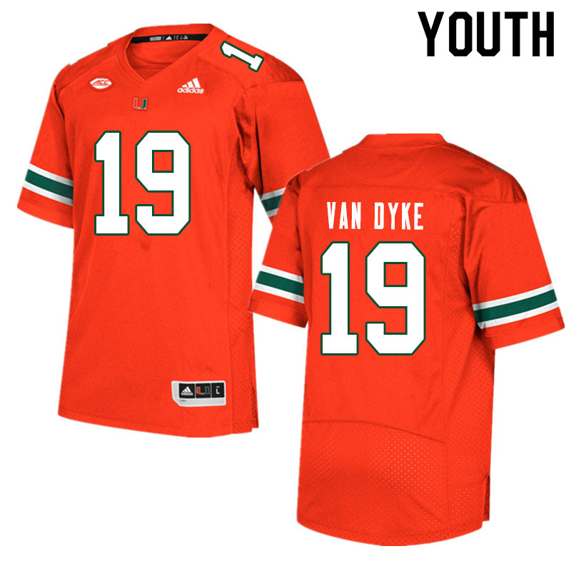 Youth #19 Tyler Van Dyke Miami Hurricanes College Football Jerseys Sale-Orange