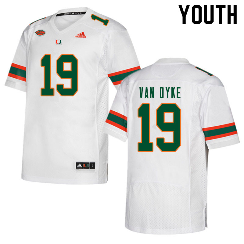 Youth #19 Tyler Van Dyke Miami Hurricanes College Football Jerseys Sale-White