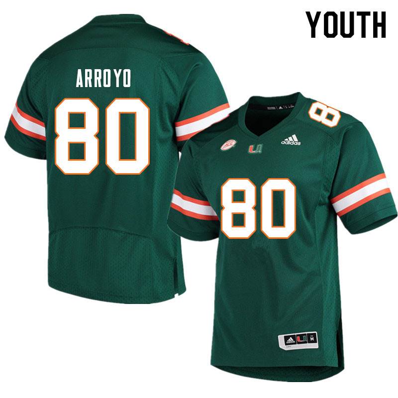 Youth #80 Elijah Arroyo Miami Hurricanes College Football Jerseys Sale-Green