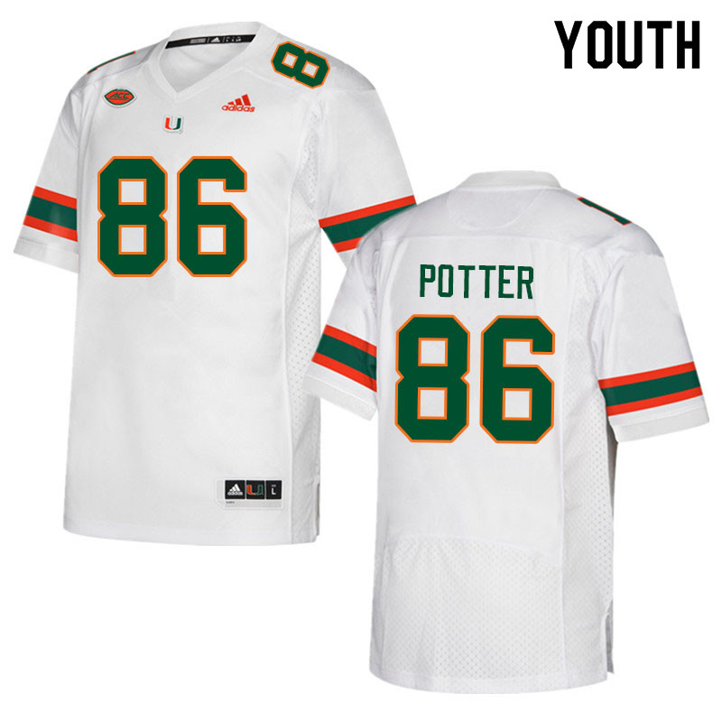 Youth #86 Fred Potter Miami Hurricanes College Football Jerseys Sale-White