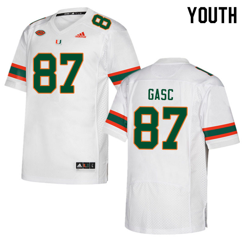 Youth #87 Matias Gasc Miami Hurricanes College Football Jerseys Sale-White