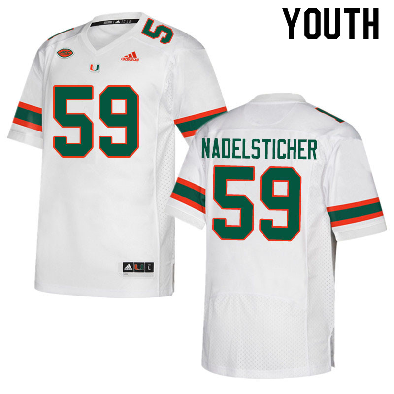 Adidas Miami Hurricanes Youth #59 Alan Nadelsticher College Football Jerseys Sale-White