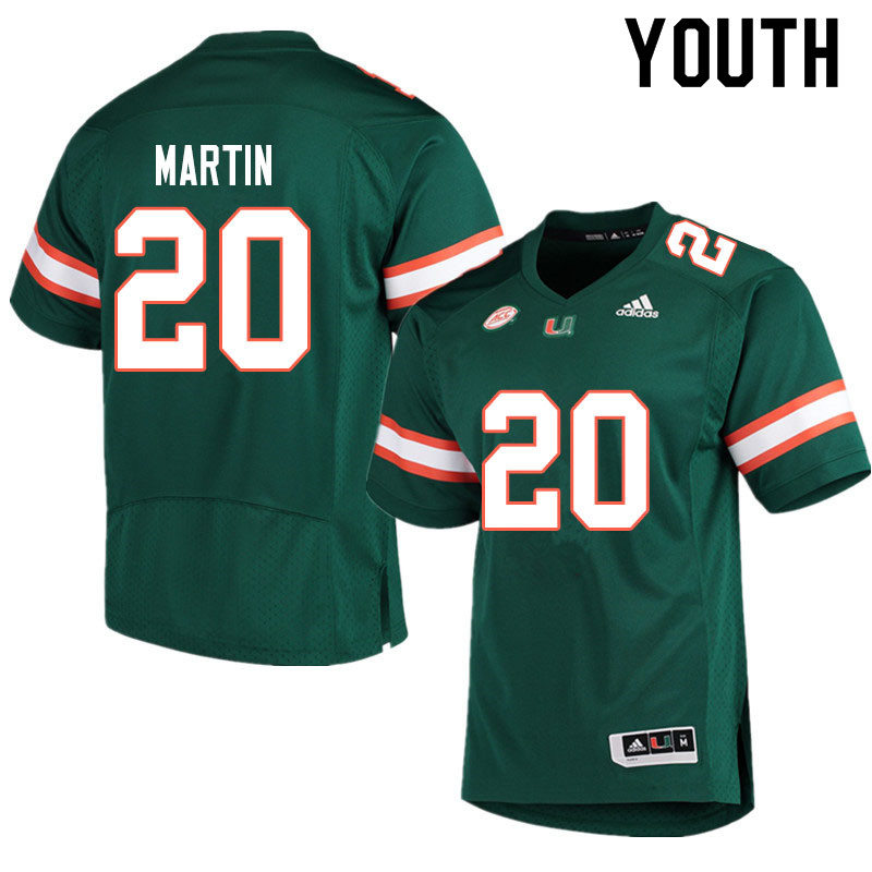 Adidas Miami Hurricanes Youth #20 Asa Martin College Football Jerseys Sale-Green