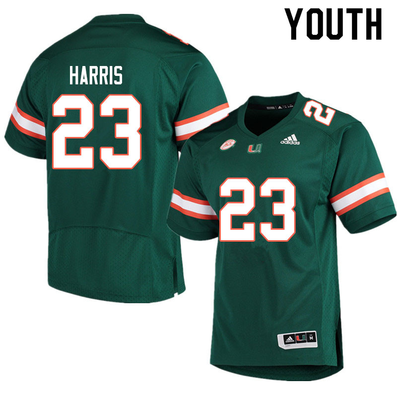 Adidas Miami Hurricanes Youth #23 Cam'Ron Harris College Football Jerseys Sale-Green