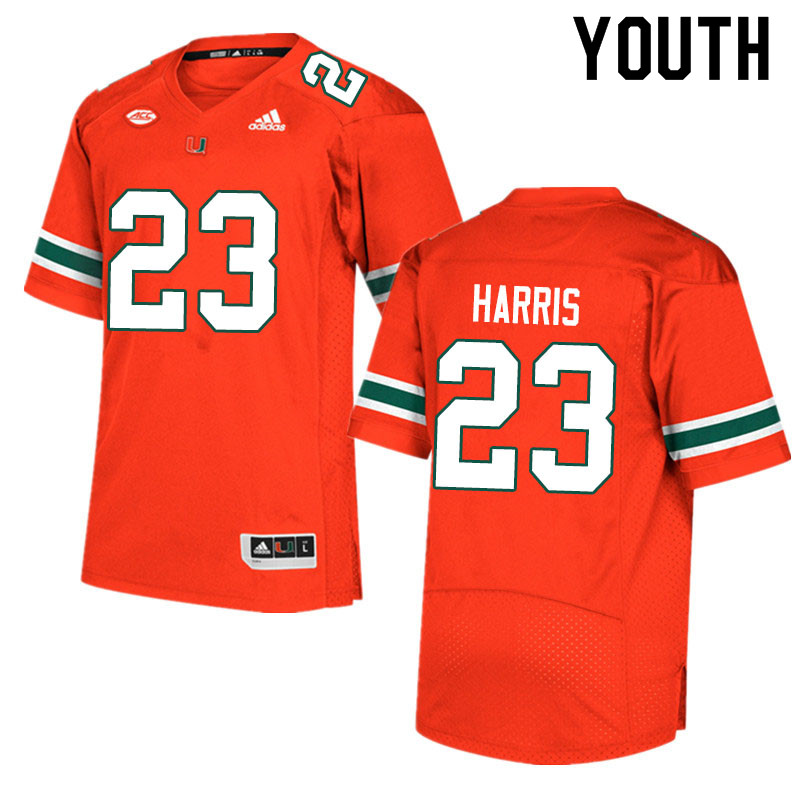 Adidas Miami Hurricanes Youth #23 Cam'Ron Harris College Football Jerseys Sale-Orange