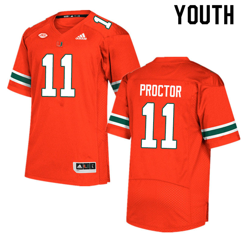 Adidas Miami Hurricanes Youth #11 Carson Proctor College Football Jerseys Sale-Orange