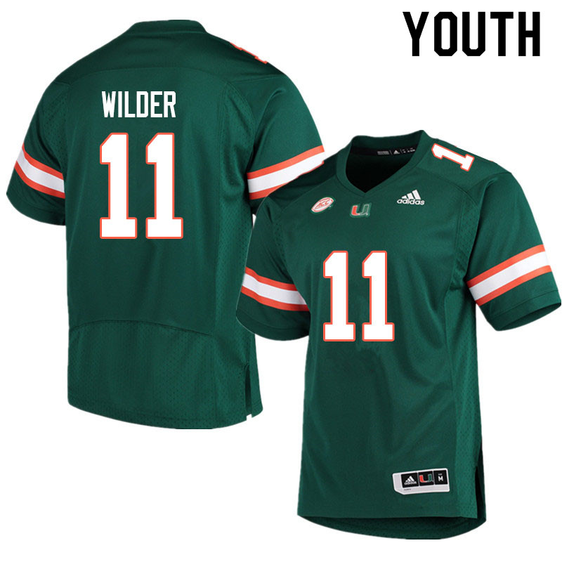 Adidas Miami Hurricanes Youth #11 De'Andre Wilder College Football Jerseys Sale-Green