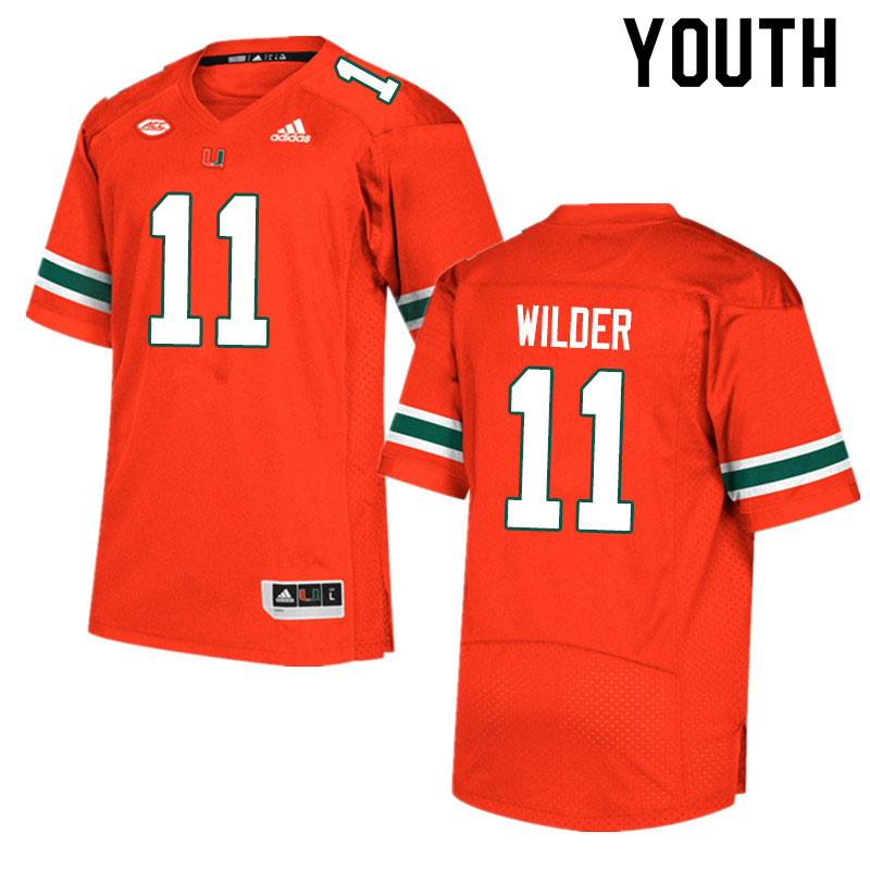 Adidas Miami Hurricanes Youth #11 De'Andre Wilder College Football Jerseys Sale-Orange