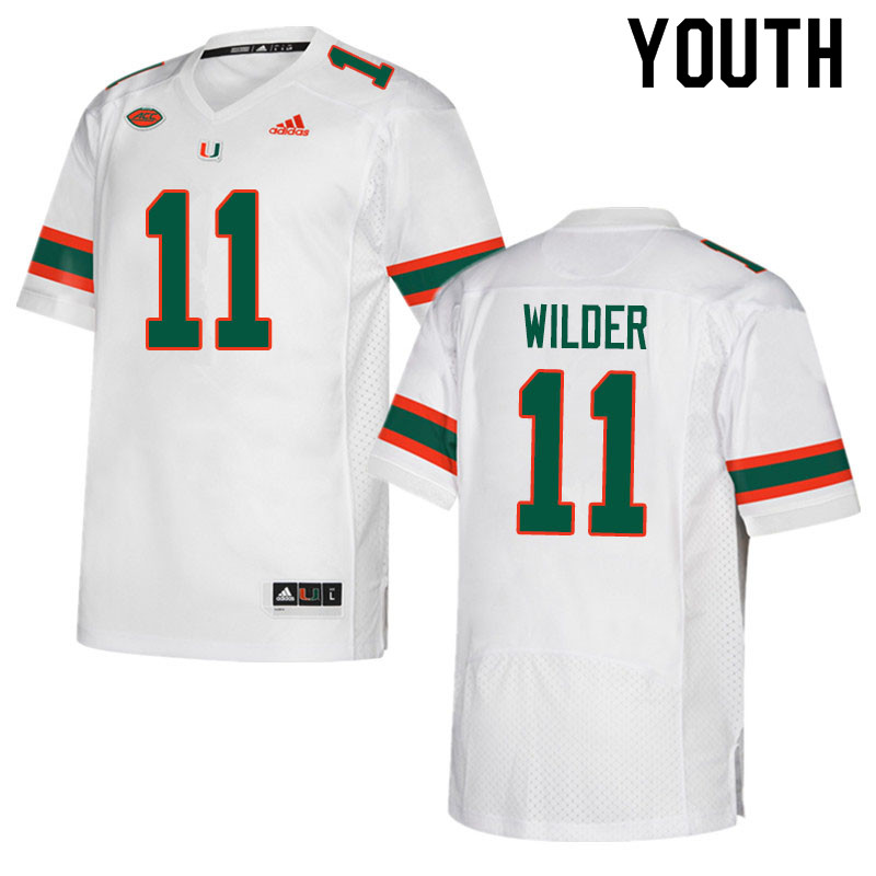 Adidas Miami Hurricanes Youth #11 De'Andre Wilder College Football Jerseys Sale-White
