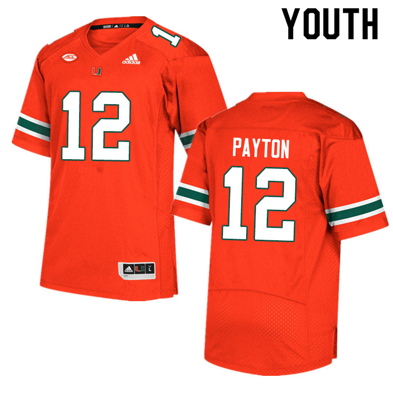Adidas Miami Hurricanes Youth #12 Jeremiah Payton College Football Jerseys Sale-Orange