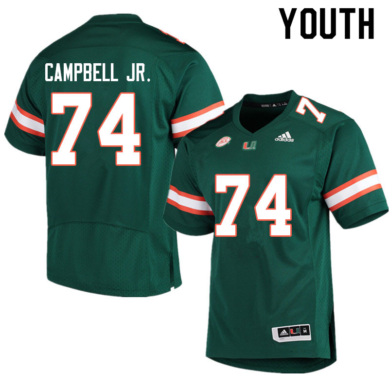Adidas Miami Hurricanes Youth #74 John Campbell Jr. College Football Jerseys Sale-Green