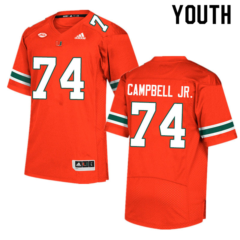 Adidas Miami Hurricanes Youth #74 John Campbell Jr. College Football Jerseys Sale-Orange