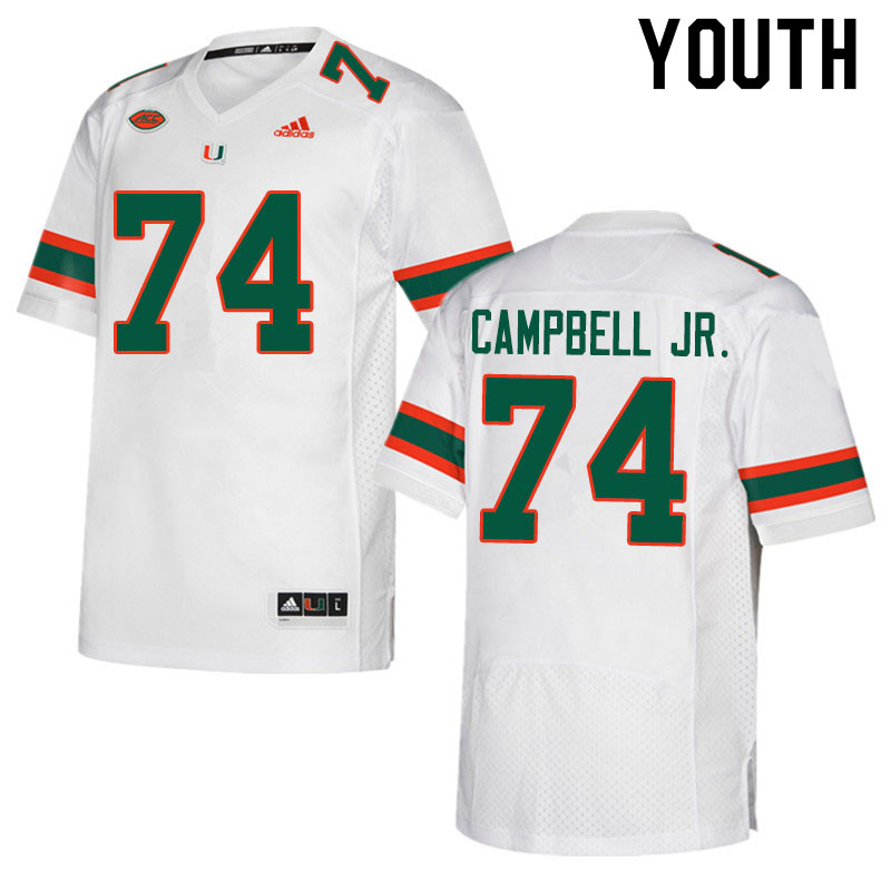 Adidas Miami Hurricanes Youth #74 John Campbell Jr. College Football Jerseys Sale-White