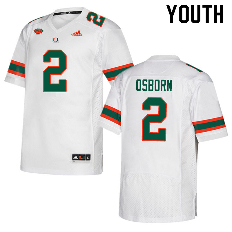 Adidas Miami Hurricanes Youth #2 K.J. Osborn College Football Jerseys Sale-White