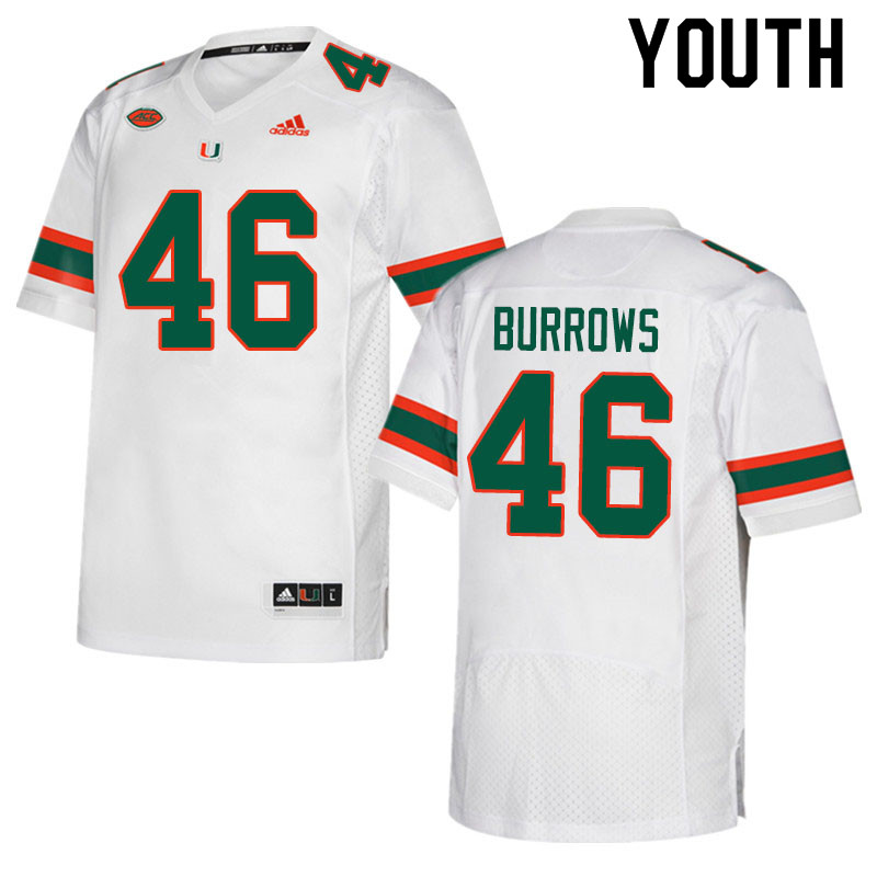 Adidas Miami Hurricanes Youth #46 Suleman Burrows College Football Jerseys Sale-White